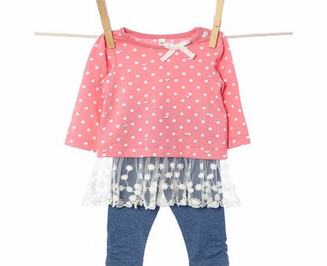 Bhs Girls Baby Girls Pink Tunic Top and Leggings