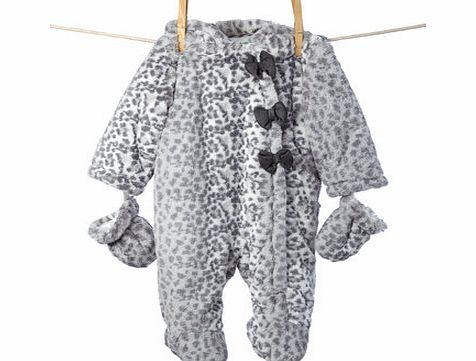 Bhs Girls Baby Girls Snow Leopard Pramsuit with