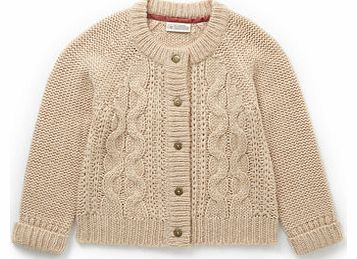 Girls Biscuit Cable Knit Cardigan, biscuit