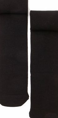 Girls Girls 2 Pack Black Cotton Soft Tights,