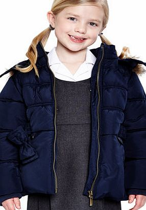Girls Girls Navy Short Line Faux Fur Trim School