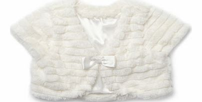 Girls Ivory Faux Fur Shrug, ivory 9256540904