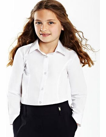 Girls Junior Girls White Long Sleeve Fitted