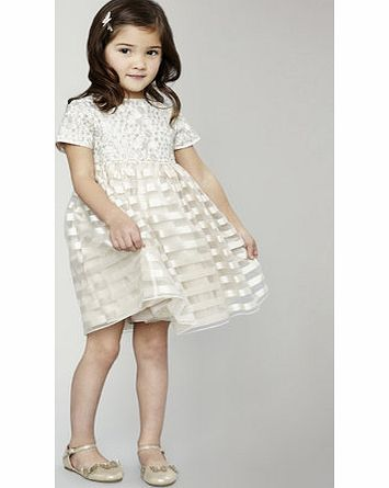 Girls Younger Girls Lace Organza Stripe Dress,