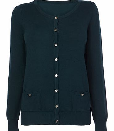 Green Stretch Crew Cardigan, green 583410518