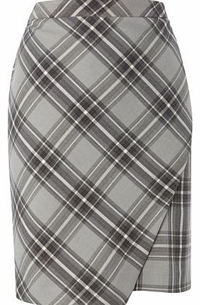 Grey Check Petite Wrap Skirt, charcoal 495960143