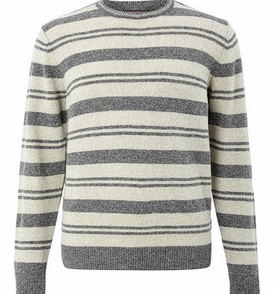 Grey Stripe Lambswool Jumper, Grey BR53F03FGRY