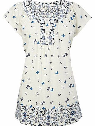 Ivory Short Sleeve All Over Print Tunic, Ivory