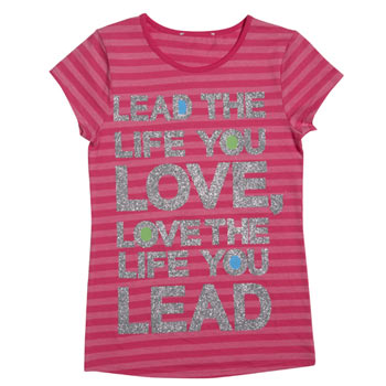 Live the life slogan stripe tee