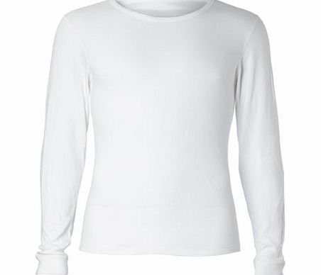 Long Sleeved White Thermal Top, White BR60M02DWHT
