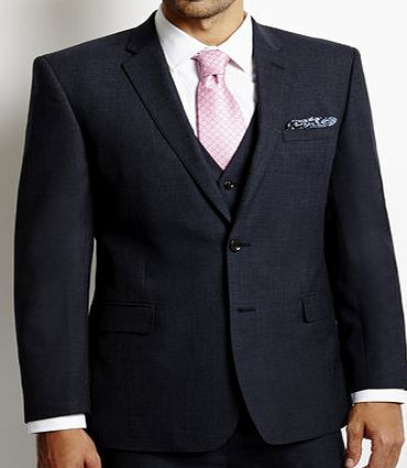 Bhs Mens Navy Tailored Wool Blend 3 Piece Suit