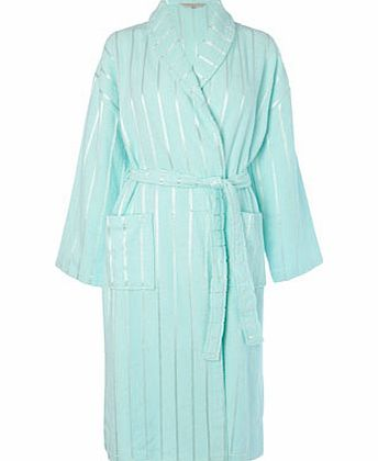 Mint Stripe Detail Towelling Robe With Shawl