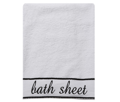 Monochrome word bath sheet