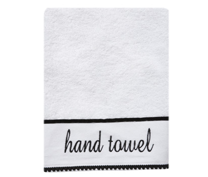Monochrome word hand towel