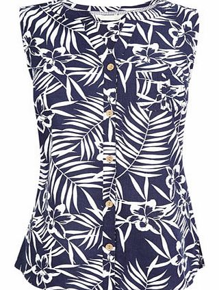 Navy Print Sleeveless Linen Top, navy/white