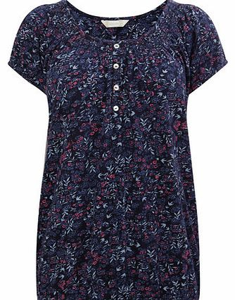 Navy Short Sleeve Floral Printed Gypsy Top, navy