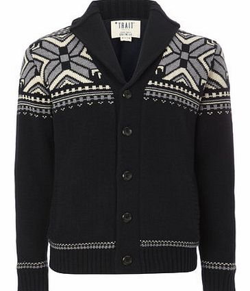 Navy Snowflake Cardigan, Blue BR53H09FNVY