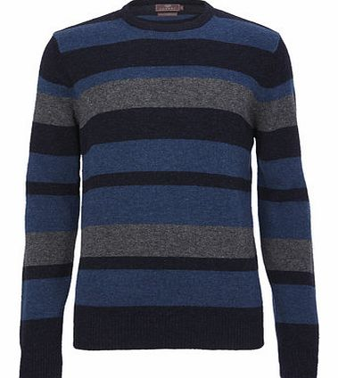 Navy Stripe Lambswool Jumper, Blue BR53F02FNVY