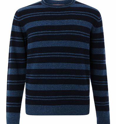 Navy Stripe Lambswool Jumper, Blue BR53F04FNVY