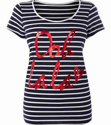 Navy/white Striped Short Sleeve Oh La La Front