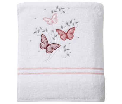 Pink butterfly bath sheet