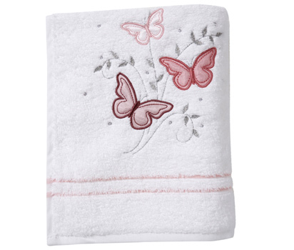 Pink butterfly hand towel