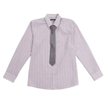 Pink stripe shirt and tie set