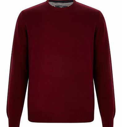 Red Cotton Crew Neck Jumper, Red BR53B01FRED