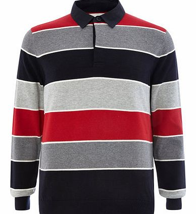 Red Twill Collar Rugby Jumper, Red BR53C03FRED