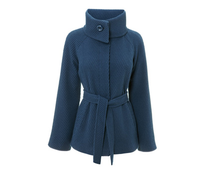 Roll collar belted coat