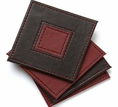 Set of Four Faux Leather Coasters, burgundy