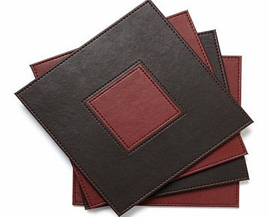 Set of Four Faux Leather Placemats, burgundy