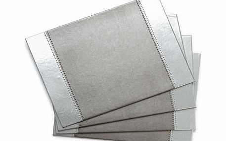 Set of Four Grey Shiny Edge Placemats, grey