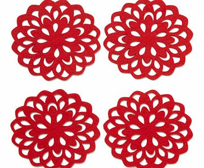 Set of four round red felt cutout coasters, red