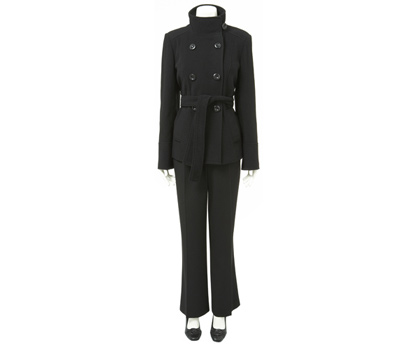 Short, double breasted, belted coat