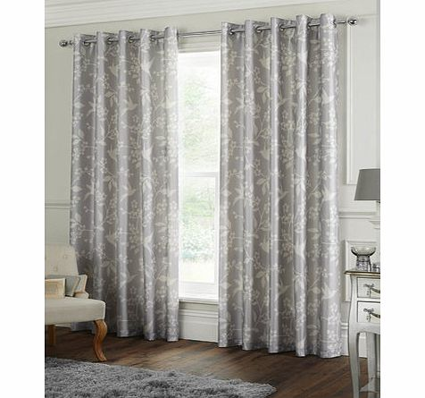 Silver Blossom Print Curtains, silver 30923540430