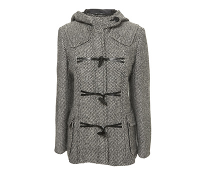 Tweed hooded duffel coat