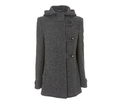 Tweed hooded tab detail duffel coat