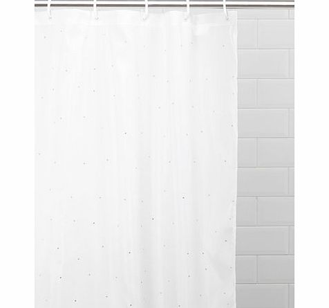 White Diamante Shower Curtain, white 1941930306
