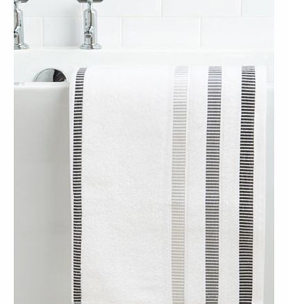 White Linear Weft Bath Towel, white 1925640306