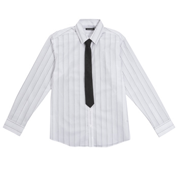 White ombre stripe shirt and tie set