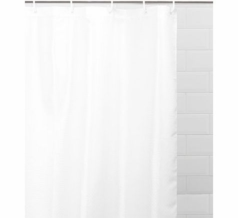 White Sabichi Solitaire Shower Curtain, white