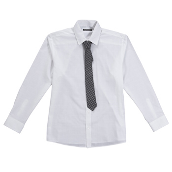 White textured shirt and tie set