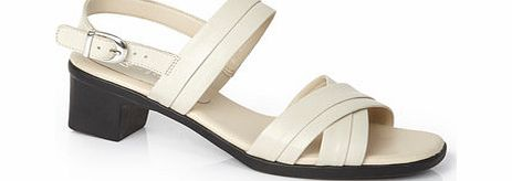 Womens Beige TLC Cross Strap Block Heel Sandal,
