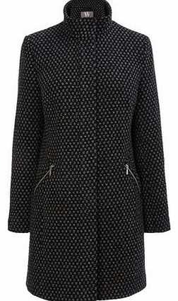 Womens Black and White Zip Funnel Coat,