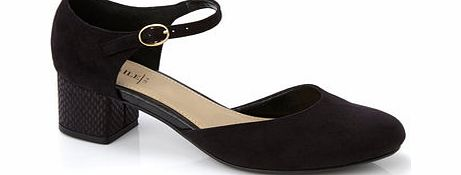 Womens Black Block Heel Ankle Strap Shoe, black