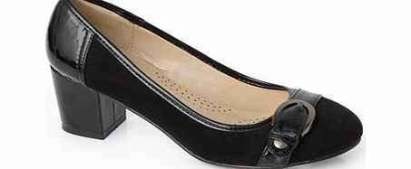 Womens Black Classic Block Heel Buckle Trim
