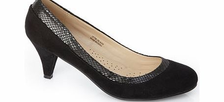 Womens Black Classic Collar Court Shoe, black