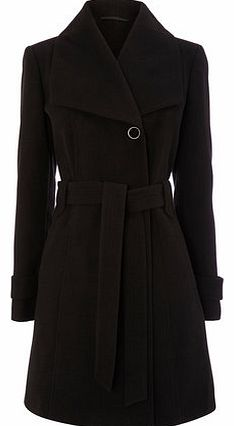 Womens Black Fit and Flare Belted Coat, black