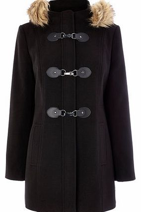 Womens Black Fur Trim Duffle Coat, black